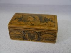 A Clark & Co Anchor Sewing Cottons box of Mauchline type printed with images for Queen Victoria's