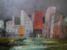 After Anne Redpath, Houses on the Lagoon, Murano, a decorative print, framed