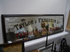 """A vintage pub advertising mirror, """"Taylor & Ferguson Famous Scotch Blend"""", in a later frame. Overall"""