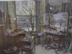 """James McIntosh Patrick R.S.A. (Scottish 1907-1998), """"The Artist's Studio, Dundee"""", a limited edition"""