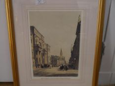 The University and South Bridge Edinburgh, a decorative print, framed