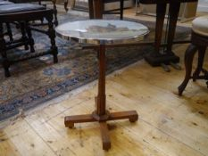 A Scottish occasional table with painted top, mid-20th century, the circular top painted in oils