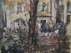 Keith Henderson (Scottish 1883-1982), Courtyard Garden, signed with initials, watercolour on