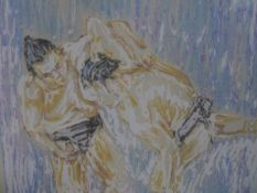 """Alan Lennon (Scottish, Contemporary), """"Sumo Wrestlers"""", watercolour, framed, label and futher"""