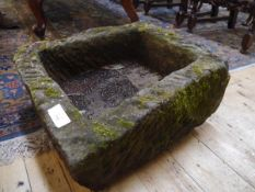 A small weathered rectangular garden trough 40cm by 46cm