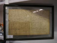 A facsimile letter from Robert Burns containing the verses for Scots Wha Hae, mounted in a double