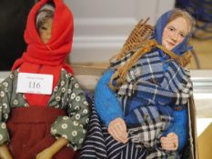 Two Scottish collector dolls, one with wax head, one composition, Fishwives, one by Christiane