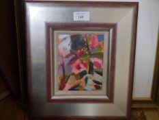 """Shona Barr (Scottish, b. 1965), """"Rose Study"""", signed lower right, oil on card, framed, Flying"""