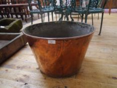 A large copper log bin. Diameter 50cm
