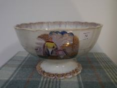 """A 19th century Scottish toddy or punch bowl, possibly Methven Pottery Kircaldy, printed with """"Caller"""