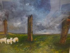 Eileen Mansfield (Scottish, Contemporary), Standing Stones Orkney, signed lower right, oil,
