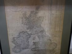 F.W. Streit, a map of Great Britain and Ireland, black and white engraving, pub. 1817, framed.