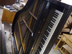 A Waldemar, Berlin ebonised baby grand piano, c. 1900.