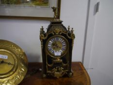 A 19th century boulle work mantel clock, Japy Freres, the case of architectural form, with caddy top