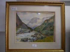 Fred R. Fitzgerald (1869-1944), A Norwegian Fjord, signed lower right, watercolour, framed. 27cm