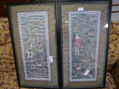 A pair of Chinese silk panels, early 20th century, in The Hundred Boys pattern, each worked in