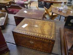 Two 19th century boxes, one Tunbridgeware walnut, the other with foliate and floral swag inlay. (
