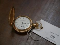 A lady's yellow metal fob watch, the white enamel dial with Roman numerals and subsidiary seconds