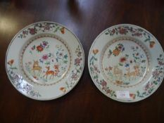 A pair of Chinese Export porcelain dishes, c. 1800, each painted to the well with fallow deer and