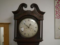 A 19th century mahogany longcase clock, the silvered dial (associated, probably earlier), with Roman