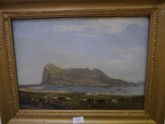 Continental School, c. 1800, A View of Gibraltar from the Spanish Shore, oil on canvas, in a gilt
