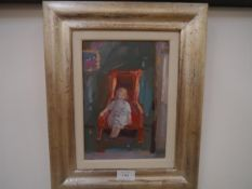 Jane Soeder (b. 1934), The Red Chair, signed lower left, oil on board, framed, gallery label