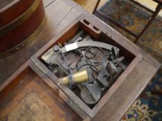 """A 19th century brass vernier sextant, engraved """"Coombes...Devonport"""", in a fitted mahogany case"""
