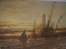 Scottish School, 20th Century, Oil Drill Ship, oil on canvas, inscribed to stretcher and appears
