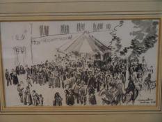 Sir David Muirhead Bone R.W.S. (Scottish 1876-1956), Fair at Santiago de Compostela, signed lower