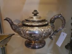A William IV Scottish silver teapot, James & Walter Marshall (Adam Elder), Edinburgh 1830, in the