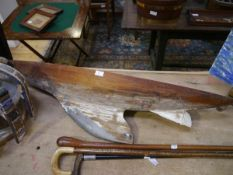 An early 20th century scratch built wooden pond yacht (a/f). Length 123cm