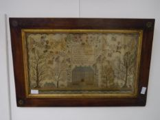 An early 19th century needlework sampler, Jane Smithers, aged 13, 1822, worked in coloured and