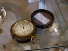 A 19th century pocket barometer, the dial signed Pollock & Stewart, Glasgow, mounted in gilt