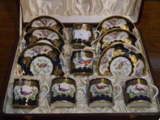 A cased six piece coffee service in the Worcester blue scale style, probably Booths, each piece