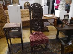 A late 19th century high back side chair in the William and Mary taste, the scroll carved crest rail