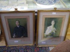 A pair of autographed portrait prints of T.R.H. The Duke and Duchess of Kent after De Laszlo, signed