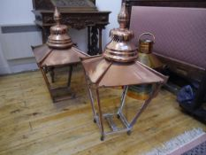 A pair of copper street lanterns, believed to be Edinburgh gas lamps, 19th century, each with