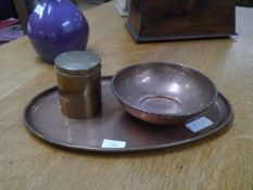 Keswick School of Industrial Arts, a group or three Arts & Crafts metalwork pieces comprising: an