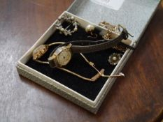 A Rotary lady's 9ct gold cased wristwatch on a 9ct gold snakelink strap; together with a 9ct gold