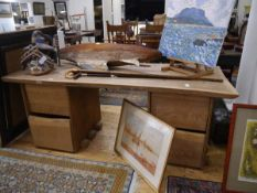 Tim Stead (1952-2000), an oak desk, with inset top above paired banks of drawers. 75cm by 188cm by