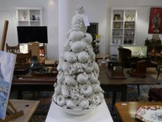 A large Casa Pupo white-glazed fruit centrepiece, with pineapple surmount, originally a lamp. 71cm