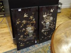 A pair of Oriental carved ivory, bone and mother of pearl panels, c ,1900, each depicting a vase