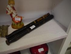 Two 19th century painted and parcel gilt turned wooden truncheons, one with royal cypher VR, the