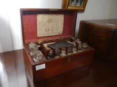 A late 19th century mahogany cased family medicine chest, bearing paper label for Duncan,