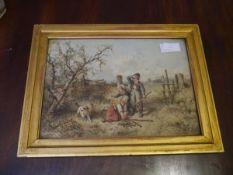 Yohan Mari Ten Kate (Dutch 1831-1910), Gathering Faggots, signed lower right, watercolour, framed.