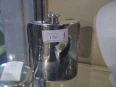 Tiffany & Co., a sterling silver hip flask, 2 gills, shaped for the hand, with screw hinged top