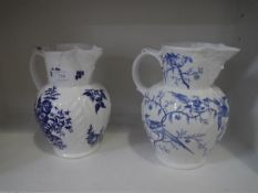 A Worcester blue and white printed mask jug, c. 1770, decorated with the pine cones, peony and
