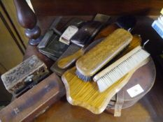 A group of gentleman's accessories including brushes, leather collar box, leather-cased rule etc;