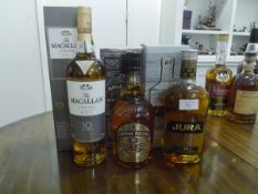 A group of three Scotch malt whiskies: The Macallan Fine Oak triple cask matured 10 years, boxed;