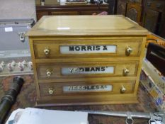 An early 20th century oak and pine threads box for Morris & Yeomans Needles